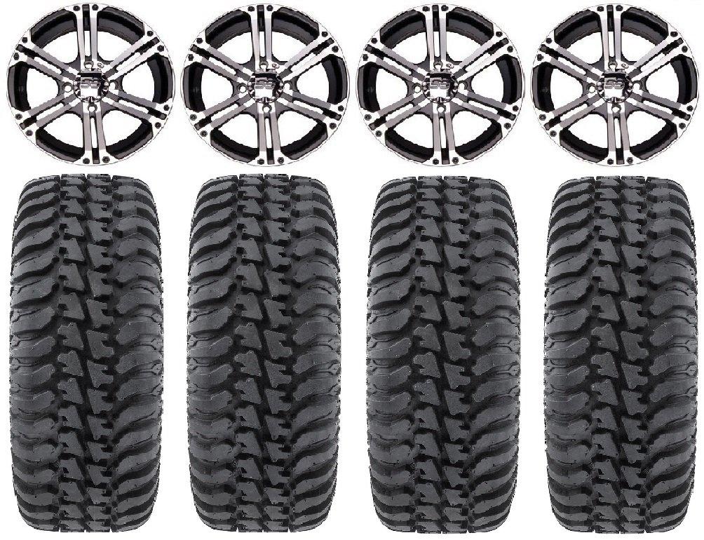 Bundle - 9 Items: ITP SS212 14'' Wheels Machined 28'' Regulator Tires [4x156 Bolt Pattern 12mmx1.25 Lug kit]