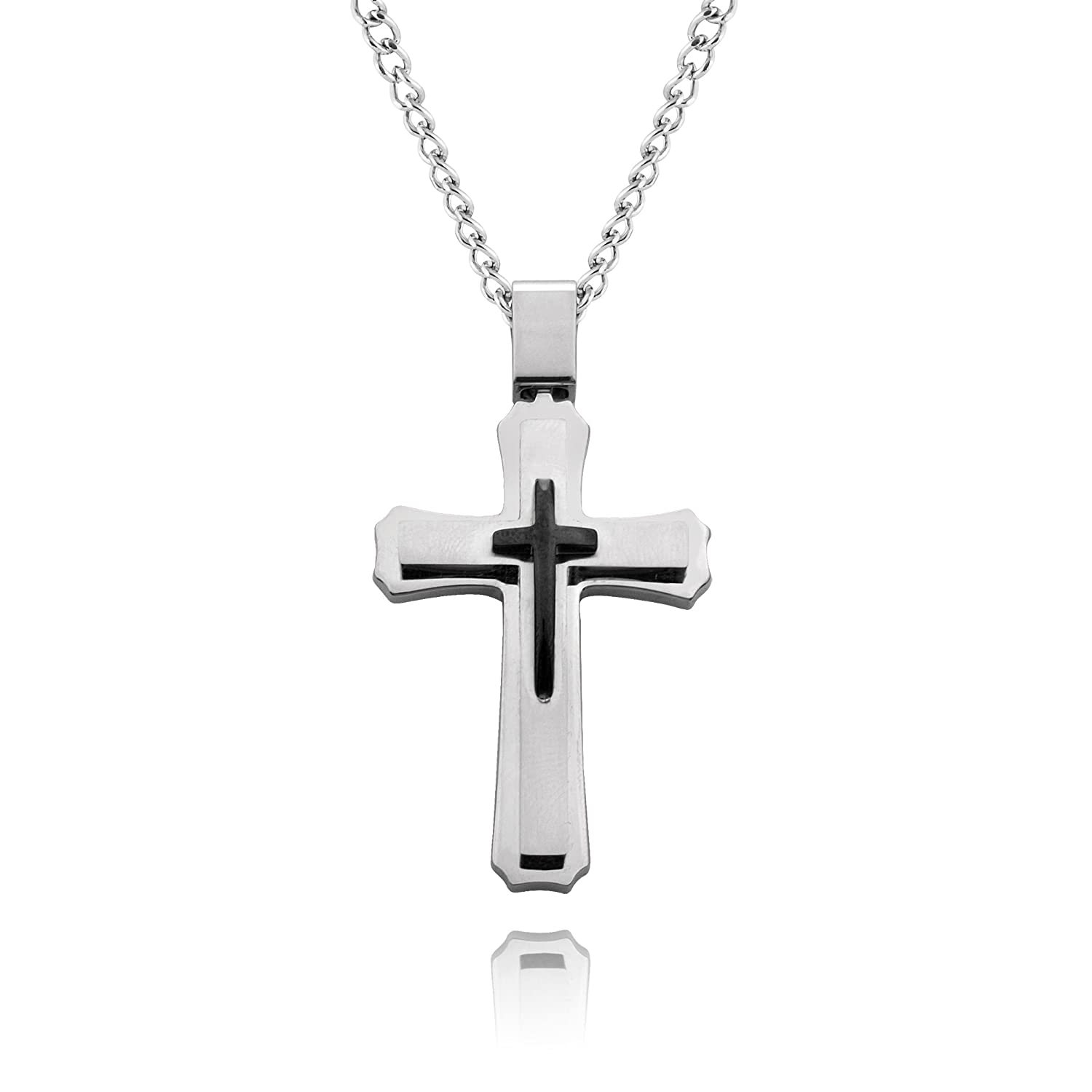 Amazon cross necklace for men women with large pendant and amazon cross necklace for men women with large pendant and 24 inch curb chain jewelry aloadofball Images
