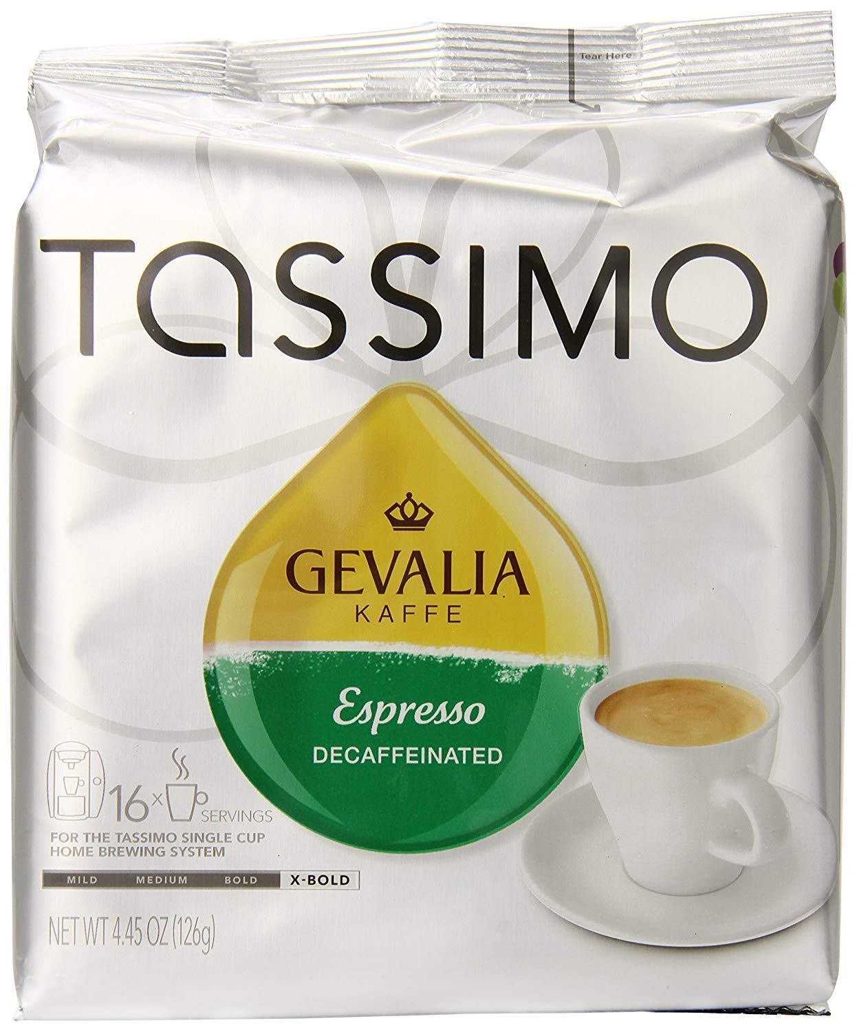 Tassimo Gevalia Decaf Espresso Extra Bold Roast Coffee T Discs, 16 Count (Pack of 5)