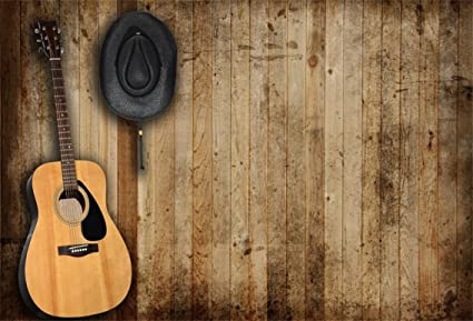 CSFOTO 6x4ft Background For Guitar Country Music Western Cowboy Hat Photography Backdrop Antique Wooden Wall Singer