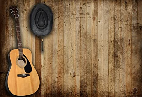Csfoto 6x4ft Background For Guitar Country Music Western Cowboy Hat Photography Backdrop Antique Wooden Wall Singer Performance Stage Party Photo