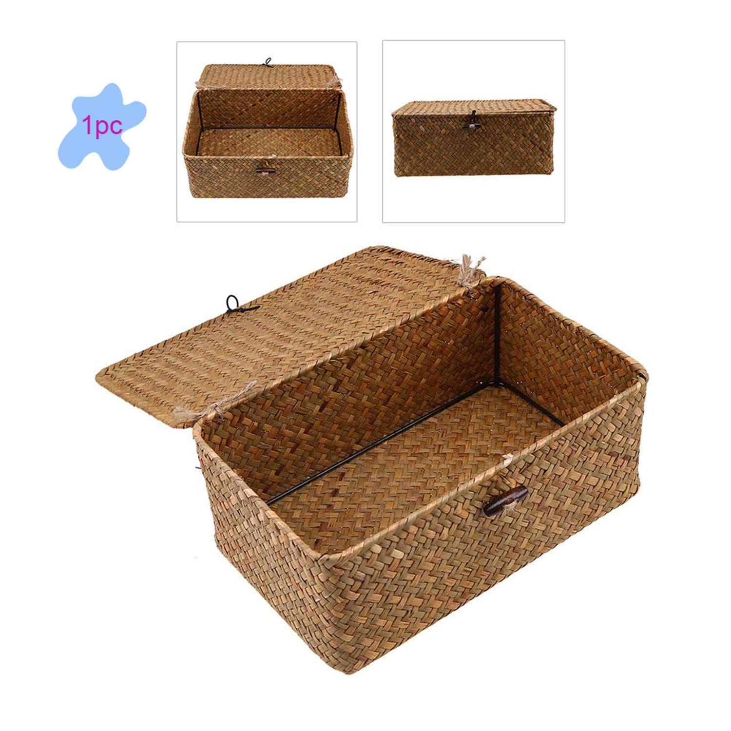 Seagrass Storage Basket Rectangular Handmade, Rattan Storage Basket with Lid for House ware Storage Multipurpose Container (S 11.4 x 7.5 x 4.7 inches)