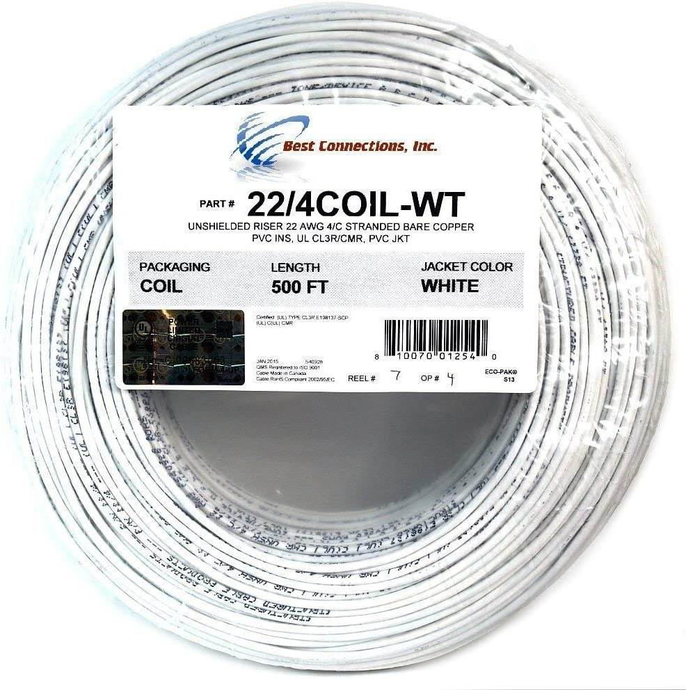 100 ft 22 Gauge 4 Conductor Solid Security Alarm Wire Cable white