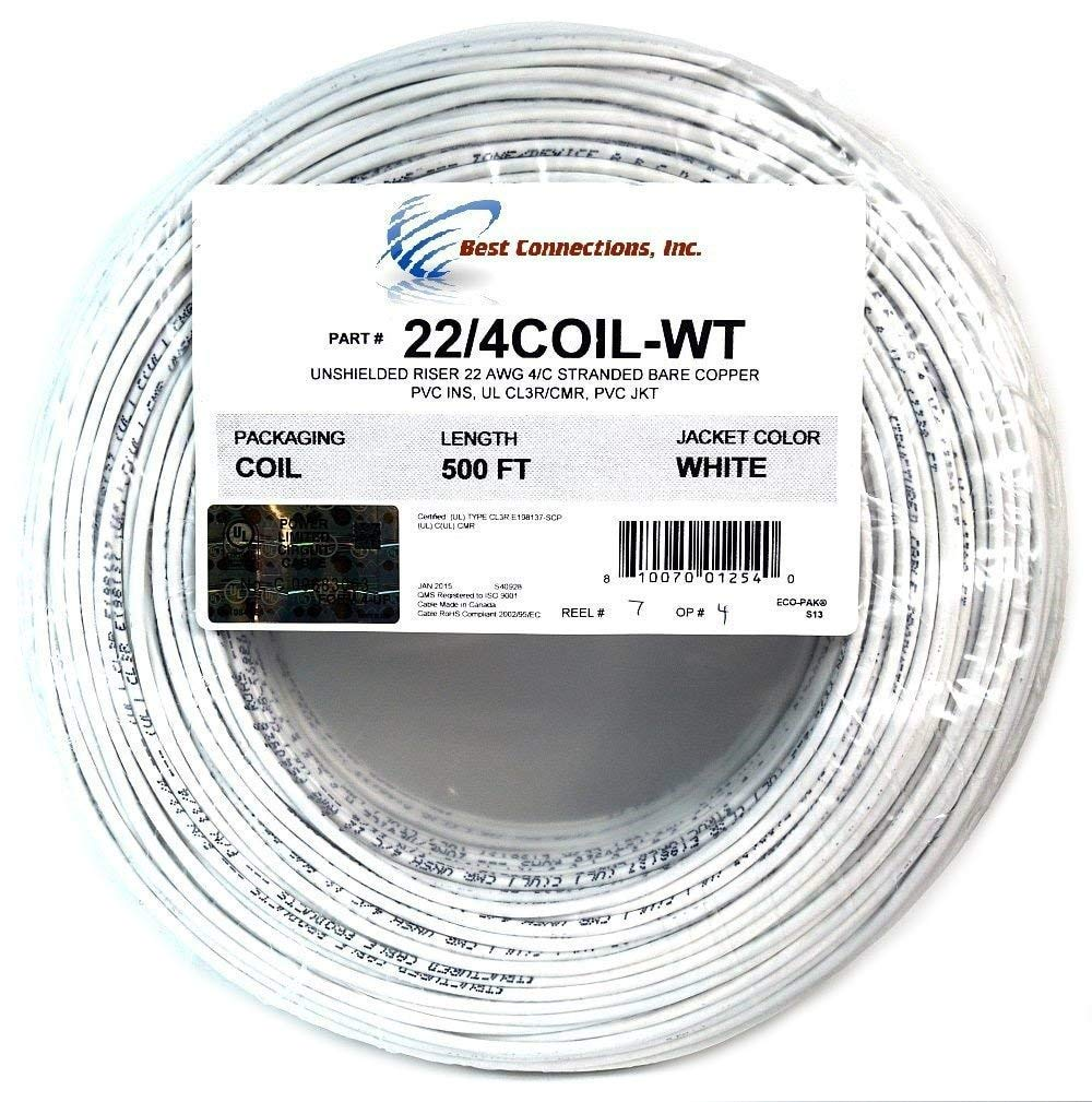 500' ft 22 Gauge 4 Conductor Stranded Security Alarm COPPER Wire Cable White