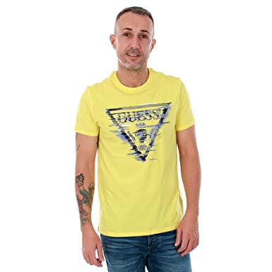 estilo único sitio oficial renombre mundial GUESS Camiseta Hombre Amarillo M81I12I3Z00 - G259: Amazon.es ...