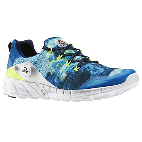 Reebok Men's Zpump Fusion 2.0 Dunes Running Shoes, White/Black/Blue/Yellow