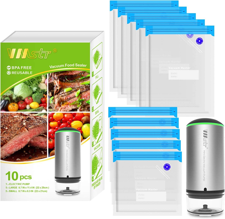 VMSTR Rechargeable Vacuum Sealer,Portable Handheld Cordless Food Vacuum Sealer For Sous Vide Cooking , Sous Vide Bags food Storage Set 10 PCS