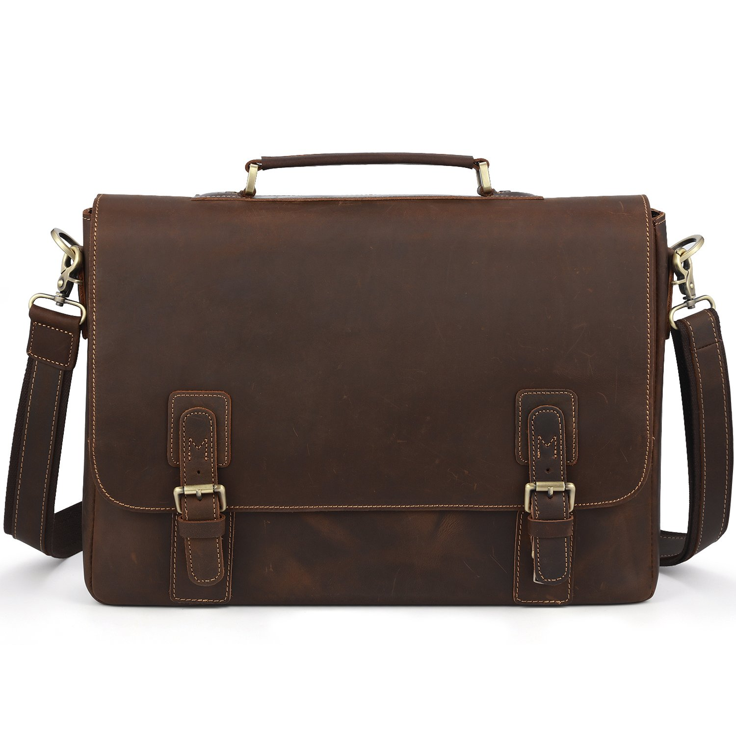 Kattee Men's Leather Satchel Briefcase, 16'' Laptop Messenger Shoulder Bag Tote
