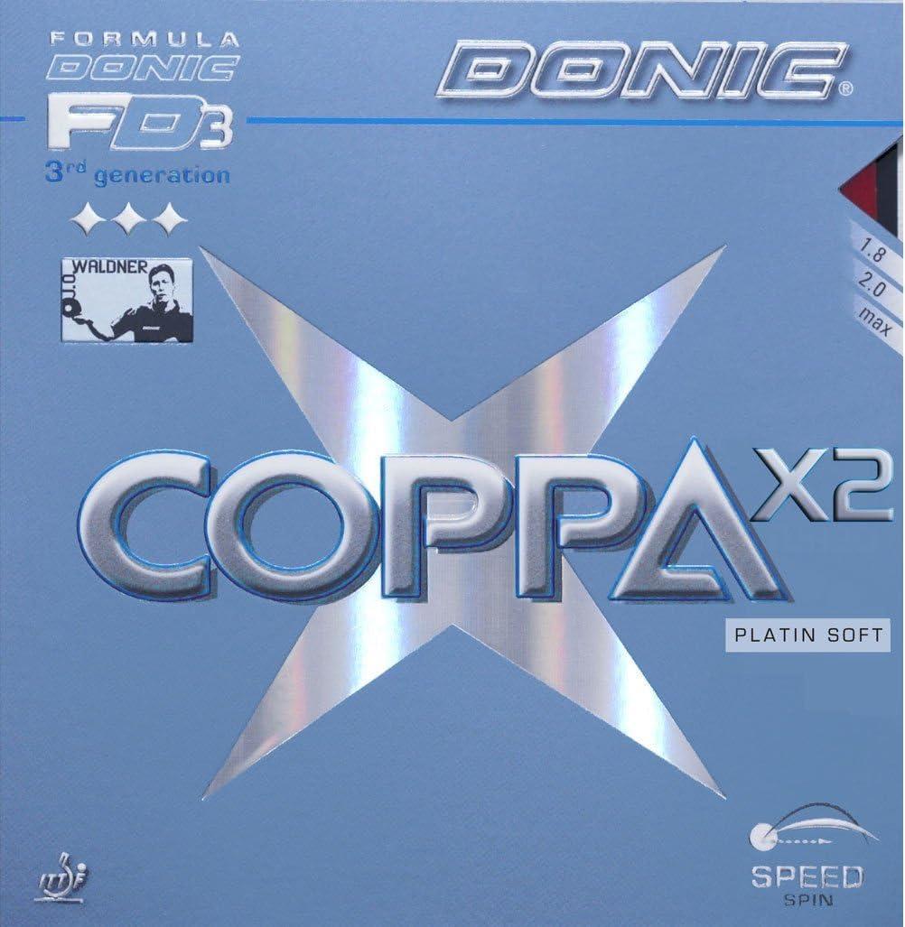 Donic Tenis de Mesa Goma Coppa Platin Suave X2, 2,00mm, Color Rojo
