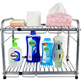 ESYLIFE 2 Tier Under Sink Expandable Shelf Organizer with 6 Metal Removable Panels