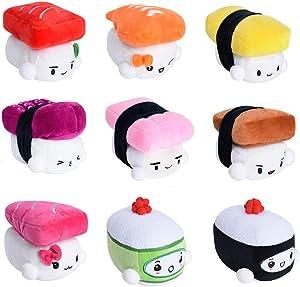 "SUSHI Cushion 6"" (15cm) x 9 SET by Choba Egg, Shrimp, Tuna, Flying Fish, Cucumber, Eel, Chub Mackerel, Salmon, Octopus, Cute Plush Pillow / Bedding Room Decoration"