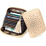 APHISON Credit Card Holder for Women RFID Blocking Card Case Ladies Small Wallets Zipper Purse 10 Slots Accordion Hollow…