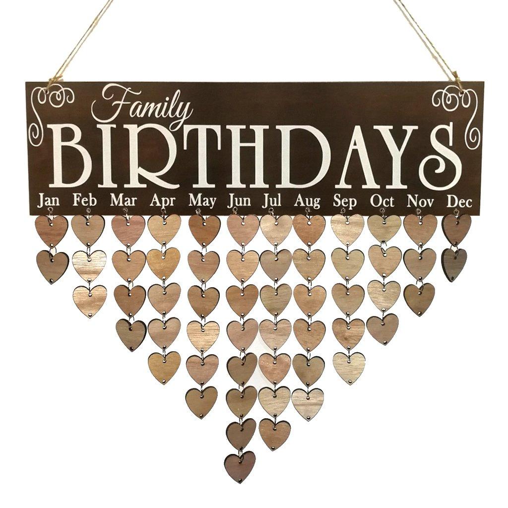 Baoblaze Family Birthdays Wooden Treasure Reminder Calendar Hanging Planner 50 Discs