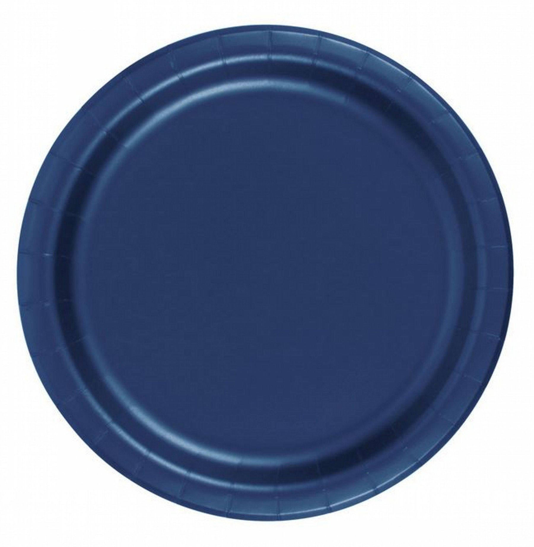 240 Navy Blue (10 Pks of 24) 7 Inch Wax Coated Plain Solid Color Dessert Cake Paper Plates