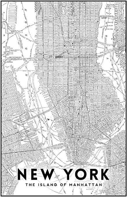 Amazon Com New York City New York Manhattan Map Black And White 16x24 Giclee Gallery Print Wall Decor Travel Poster Posters Prints