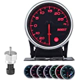 Turbo Boost/Vacuum Gauge Kit 2 Inch 7 Color 30 PSI, Smoke Lens, Black Dial, with Electronic Sensor, for 12V Car and…