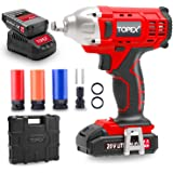 """TOPEX 2IN1 20V Cordless Impact Wrench Driver 1/2"""" 1500mAh Li Battery W/Sockets (Two Bateries)"""