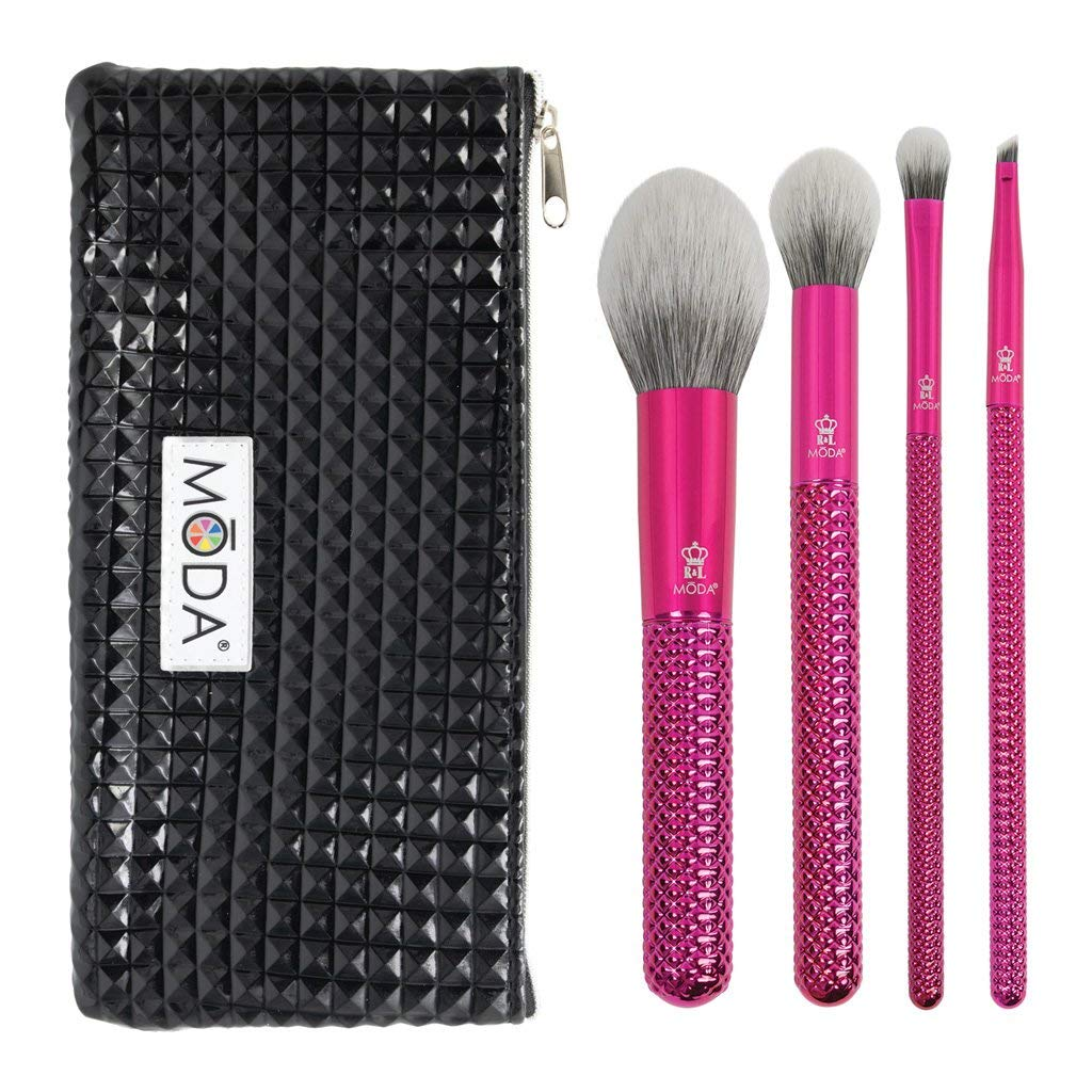 Royal & Langnickel MODA Full Size Metallic Picture Perfect 5pc Makeup Brush Set with Pouch, Includes - Blush, Contour, Shader, Angle Liner Brushes, Metallic Pink