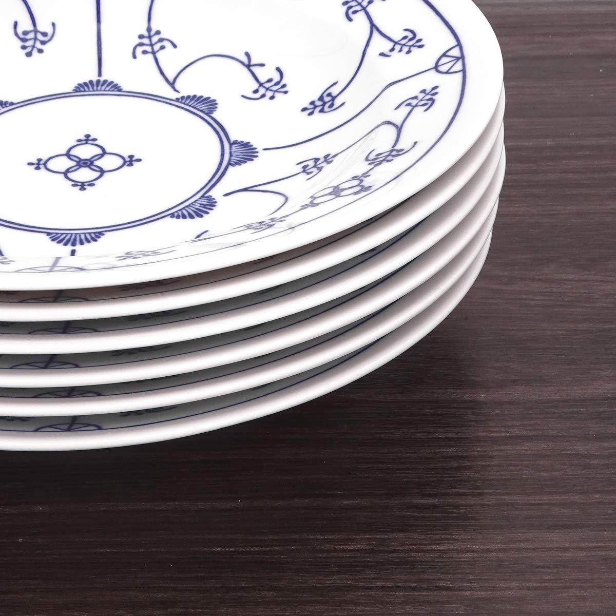 Kahla Saks 16 g112 a75019h blauweiß Platos hondos Juego de Porcelana 6 Piezas 6 Persona Decoración Floral Profundidad Plato Redondo Platos de Pasta: ...