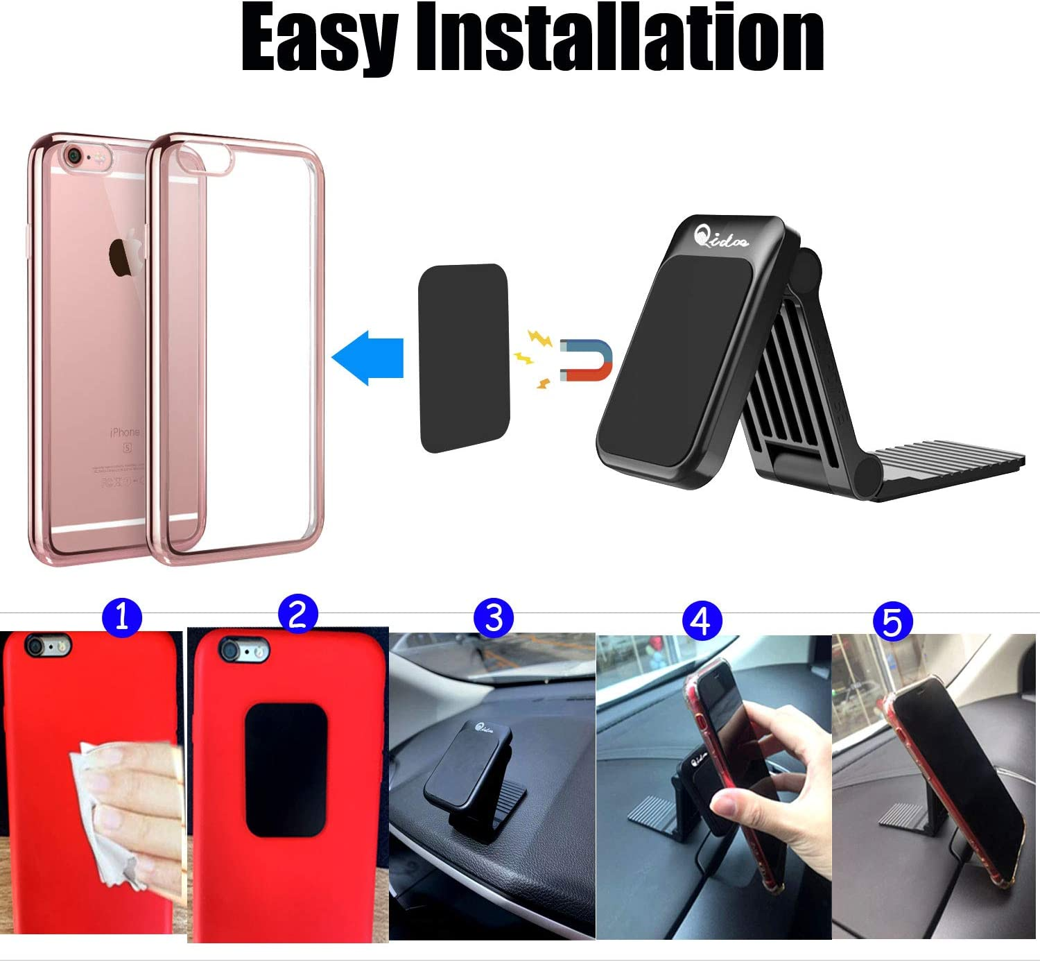 LG Motorola Nokia Samsung Galaxy Magnetic Phone Car Mount HTC ect Sony BlackBerry Qidoe Magnetic Car Phone Mount Holder Stick On Car with 3M Strong Adhesive Nice Car Kit for iPhone