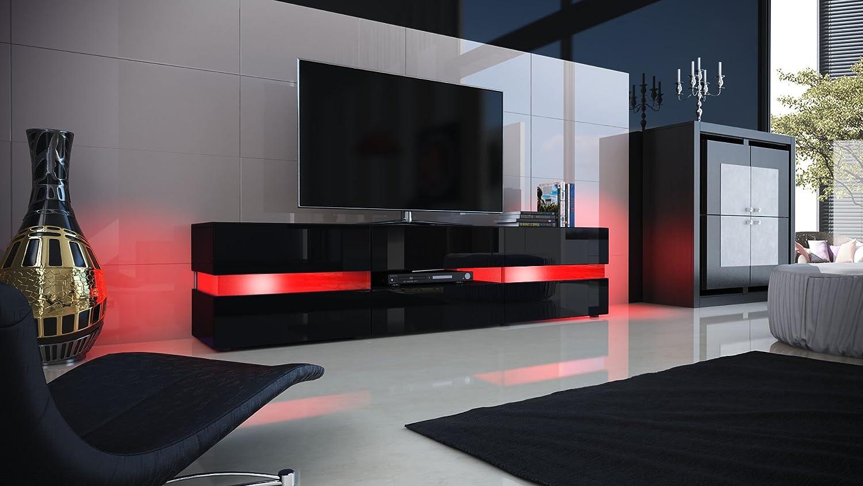Meuble Tv Armoire Basse Flow En Noir Mat Noir Laqu Haute  # Meuble Tv En Noir