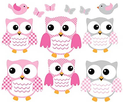Owl Decals, Pink And Gray Owl Wall Stickers, Nursery Wall Art