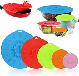 maidongmaixi Silicone Lid, Food Covers Reusable Silicone Container Lids for Bowls, Plate, Pots, Pans, Oven, Microwave, Fridge and Freezer Safe (Colorful/5 Pack)