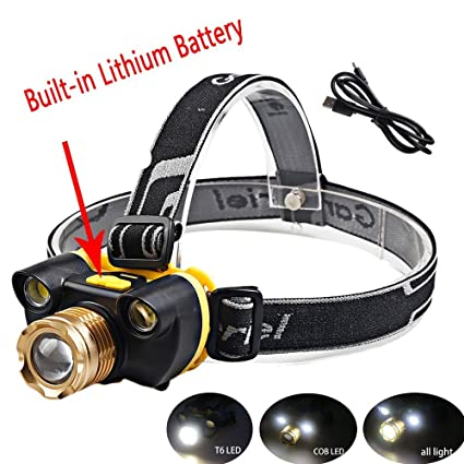 Garberiel 5 Modes USB Rechargeable Waterproof Headlamp 5000 Lumen Super Bright Zoomable Flashlight Camping Batteries included Hiking Fishing LED Headlight Riding