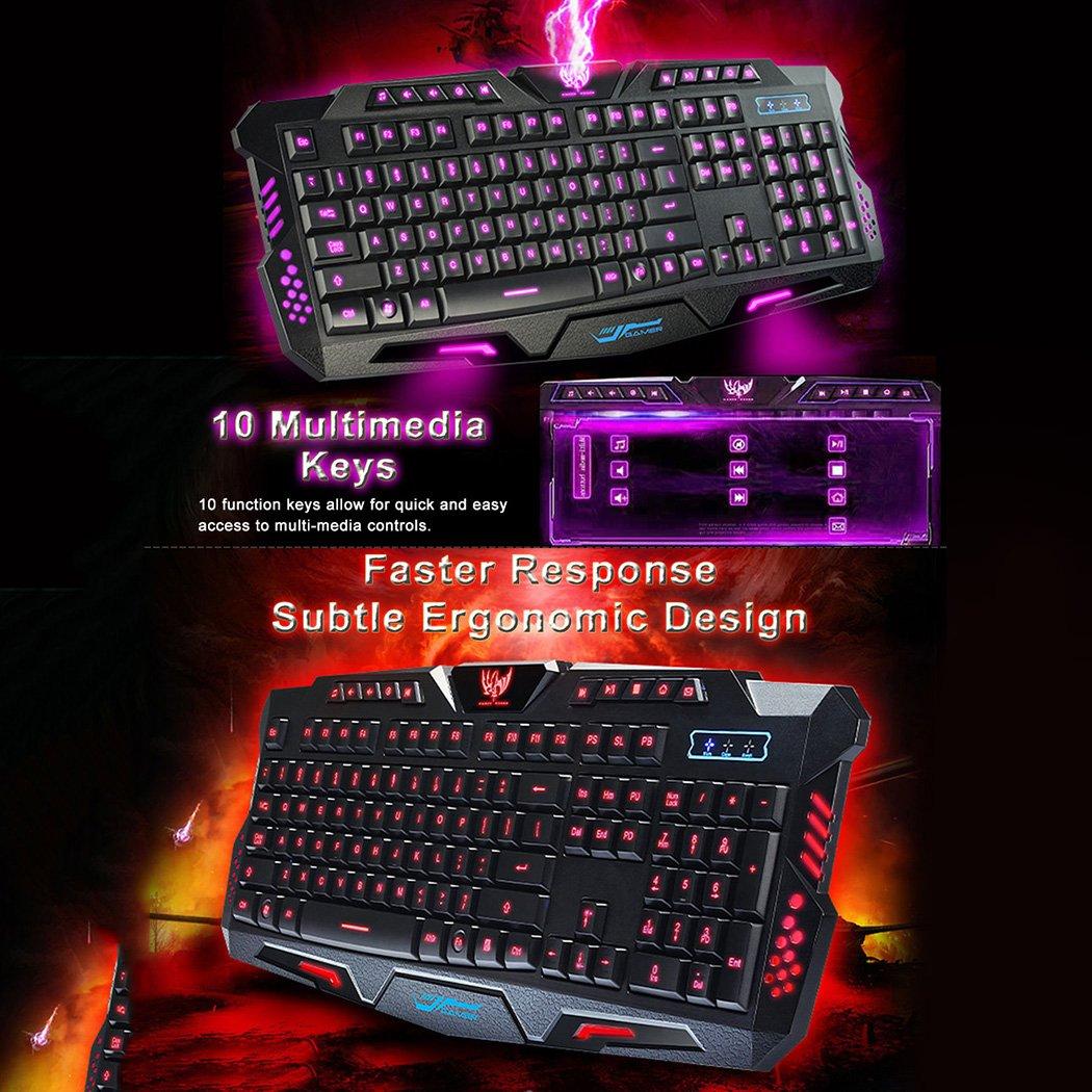 MIOIM Videojuego y teclado retroiluminado para juegos Juego ruso Reproductor de teclado 3 colores Conmutable LED retroiluminado Usb con cable Teclado para ...
