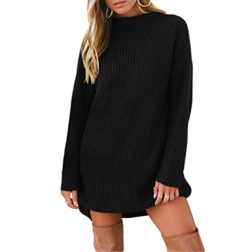 c5302649d0 Asvivid Womens Casual Ribbed Knit Long Sleeve Pullover Sweater Knitwear  Dresses Size 6-16