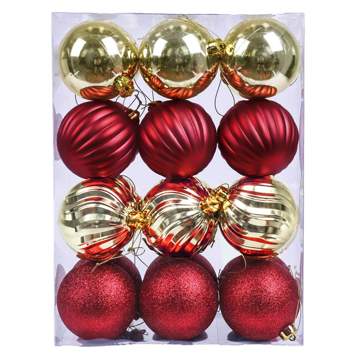 V&M VALERY MADELYN 24ct 80mm Luxury Red Gold Shatterproof Christmas Ball Ornaments Decoration with String Pre-Tied,Themed with Tree Skirt(Not Included) EG0101-0022