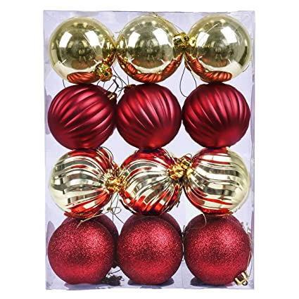 vm valery madelyn 24ct shatterproof christmas balls ornaments red and gold 315inch8cm