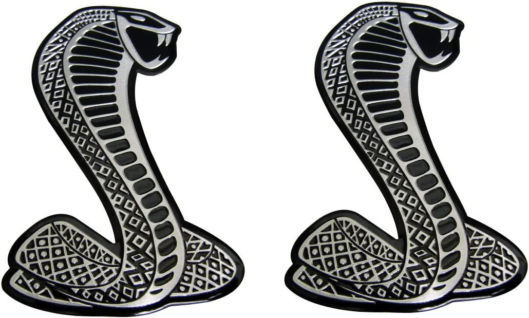 2 x Cobra Snake Aluminum Emblem Badge Nameplate Decal Logo Rare for Ford Mustang Shelby GT GT500 SVT pair//set of 2