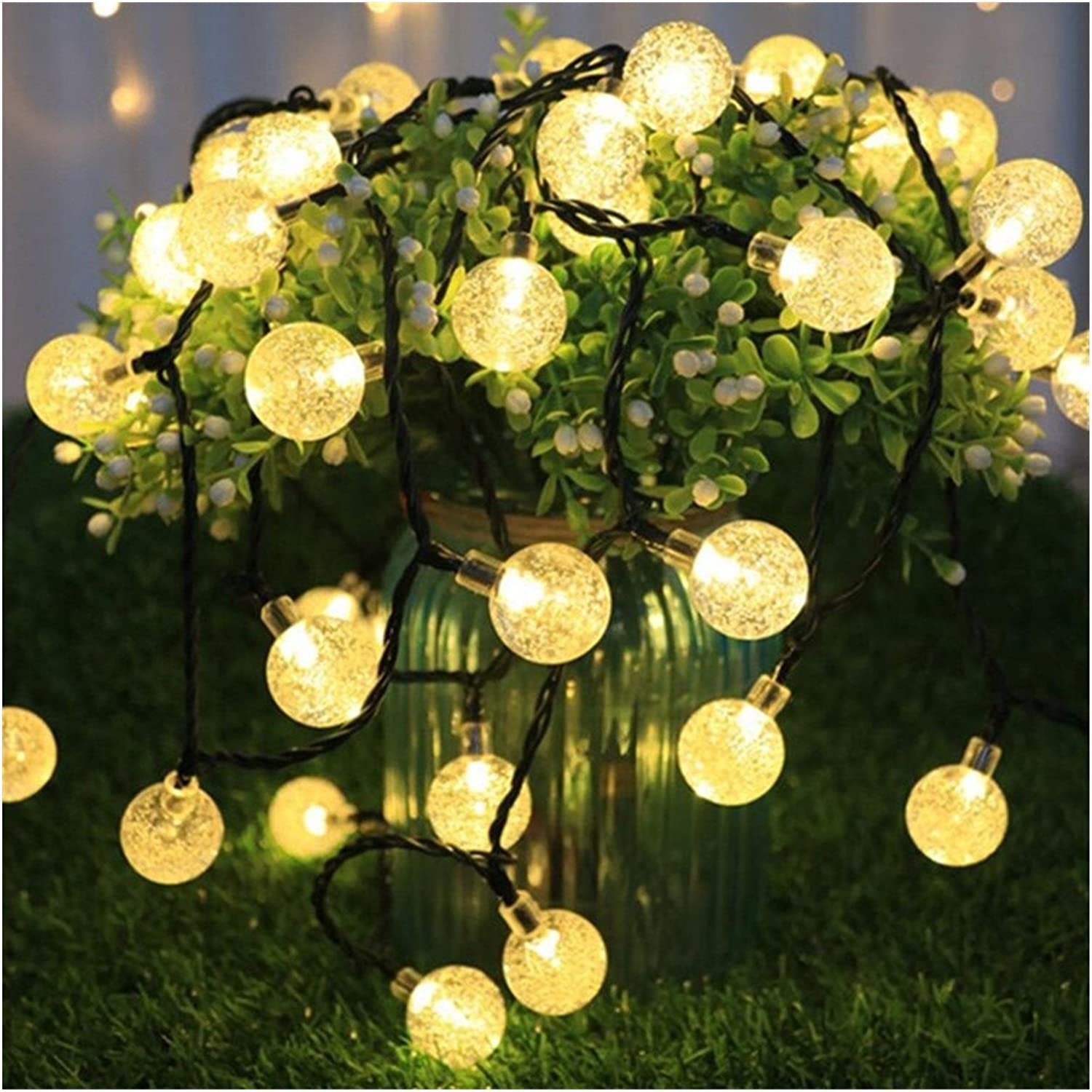 Amazon.com : Kfdzsw Christmas String Lights 5M 10M Solar Lamp Crystal Ball  Globe Waterproof LED Solar String Light Bulb Garden Christmas Decor Outdoor  Solar Light Garland : Garden & Outdoor