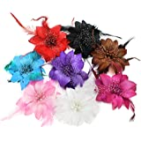 BONAMART ® 8 pcs Woman Lady Girl Brooch Corsage Hair Clips Barrettes Accessories Feather Flower For Wedding Party