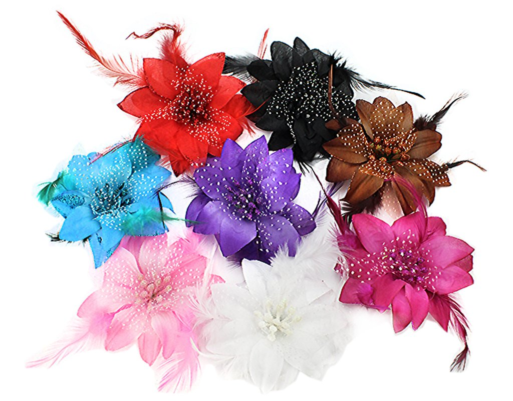 BONAMART Flower Hair Clips For Women, 8 pcs Brooch Corsage Hair Flowers Barrettes Accessories Clip For Girls Ladies Wedding Party Dance