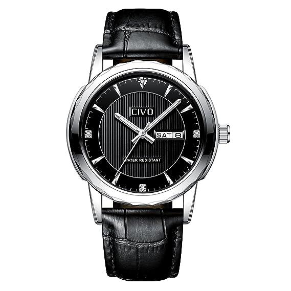 30043dcc5a5b CIVO Reloj de Cuero para Hombres Negro Impermeable Reloj Día Fecha Clásico  Moda Diseñador Retro Relojes de Pulsera Caballeros Deportivo Adolescente  Chicos ...