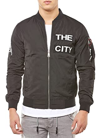 many styles wholesale luxury aesthetic John H Mens Bomber Jacket Tokyo Paris/New York City Patches ...