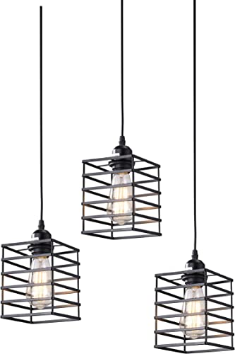 Pack of 3, 1-Light Vintage Industrial Pendant Light, Square Shape Metal Ceiling Lamp Fixture No Bulb Included