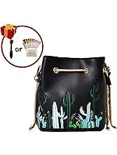 LABANCA Womens Mini Bucket Purse Floral Shoulder Bag with Drawstring Chain Cross Body Bag
