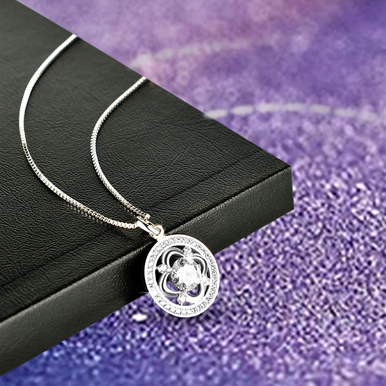 Mode 925 Sterling Argent avec 5A Zircone Cubique Amilril Collier Femme les anniversaires pour la f/ête des m/ères