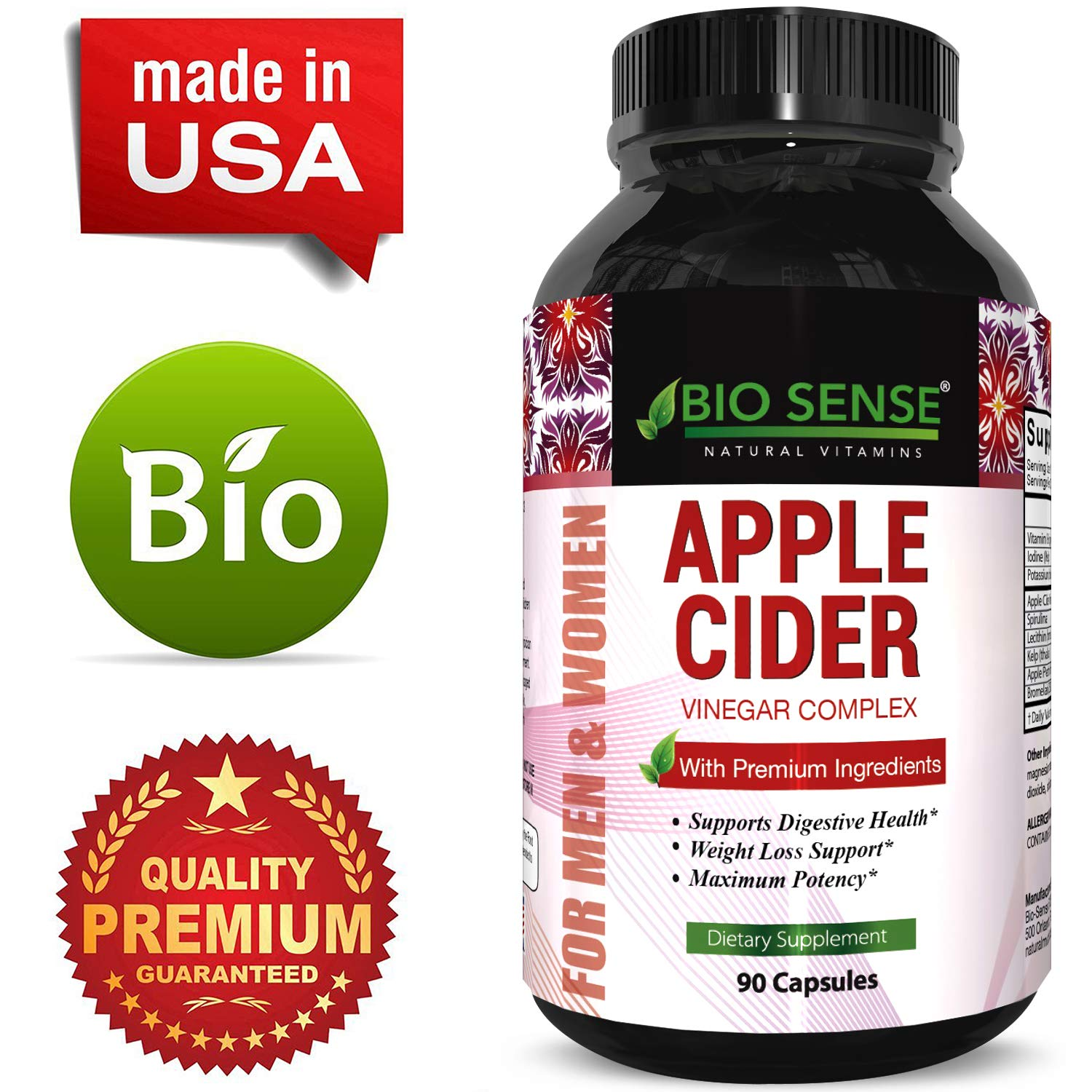 Apple Cider Vinegar Weight Loss Supplement Natural Detox Fat Burner Diet Pills Digestion Support Fast Acting Metabolism Booster Best Appetite Suppressant for Men and Women 90 Capsules by Bio Sense