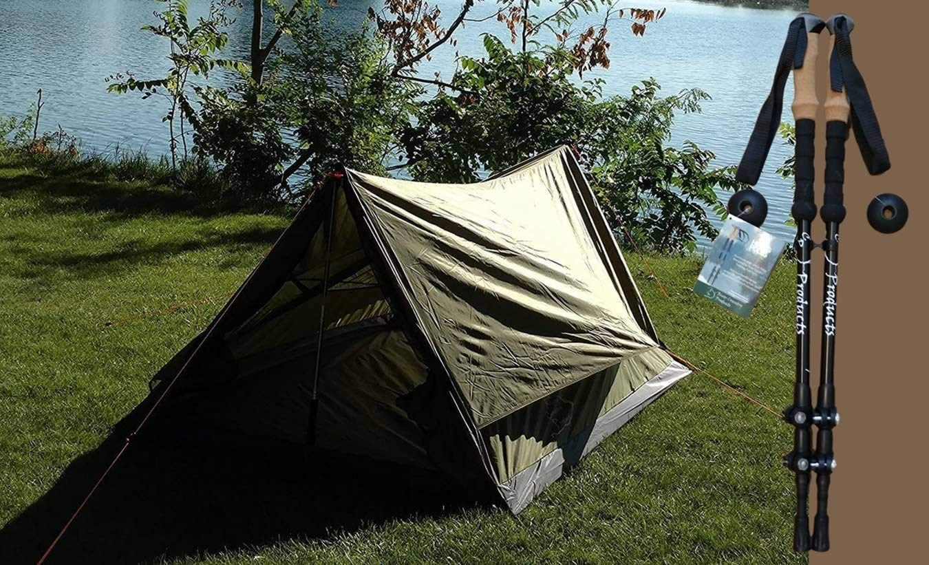 River Country Products Trekker Tent 2.2 Combo with Trekking Poles, Two Person Trekking Pole Backpacking Tent with Trekking Poles - Green by River Country Products