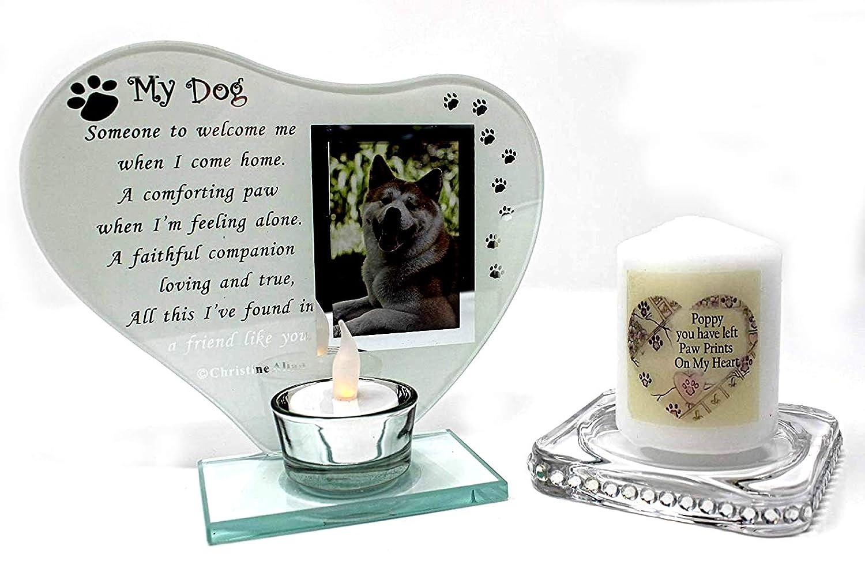 My Dog Glas Teelichthalter Foto Rahmen mit Gedicht kann ...