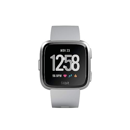 Fitbit Versa Montres Connectées Forme Sport et Bien être Plus de 4 Jours d autonomie Étanche Suivi Fréquence Cardiaque Argent