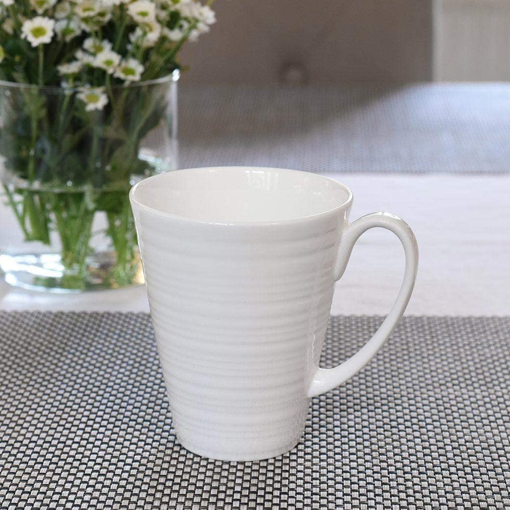 Hot Chocolate and More White Large Cups with Simple Modern Style for Serving Tea Set of 4 Coffee ProCook Harrogate Bone China Mugs
