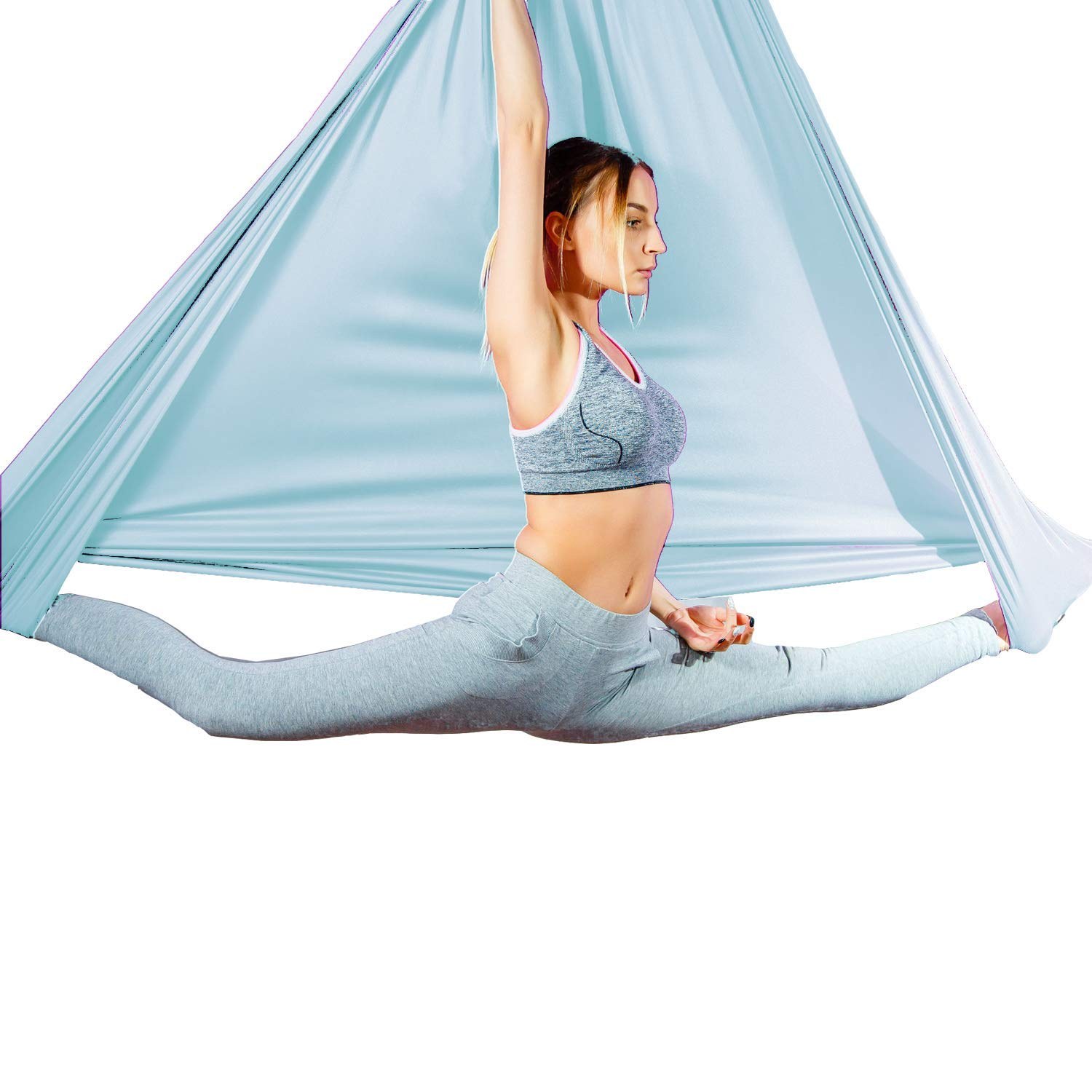 Aum Active Aerial Silks Fabric 4.5x3 Yards for Aerial Yoga Hammock Antigravity Yoga Trapeze Inversion Pilates for Ceiling Height Upto 10ft Sensory Swing