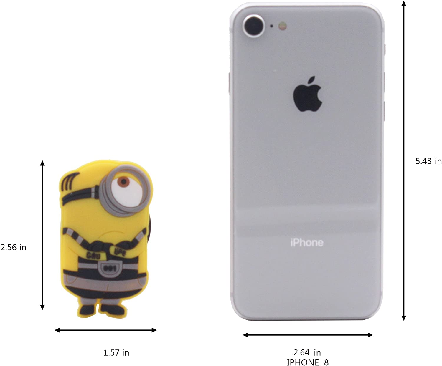 Finex Set of 4 The Minions Cell Phone Grip Stent Yellow Portable Earbud Wrap Keeper Organizer Tangle Free Storage
