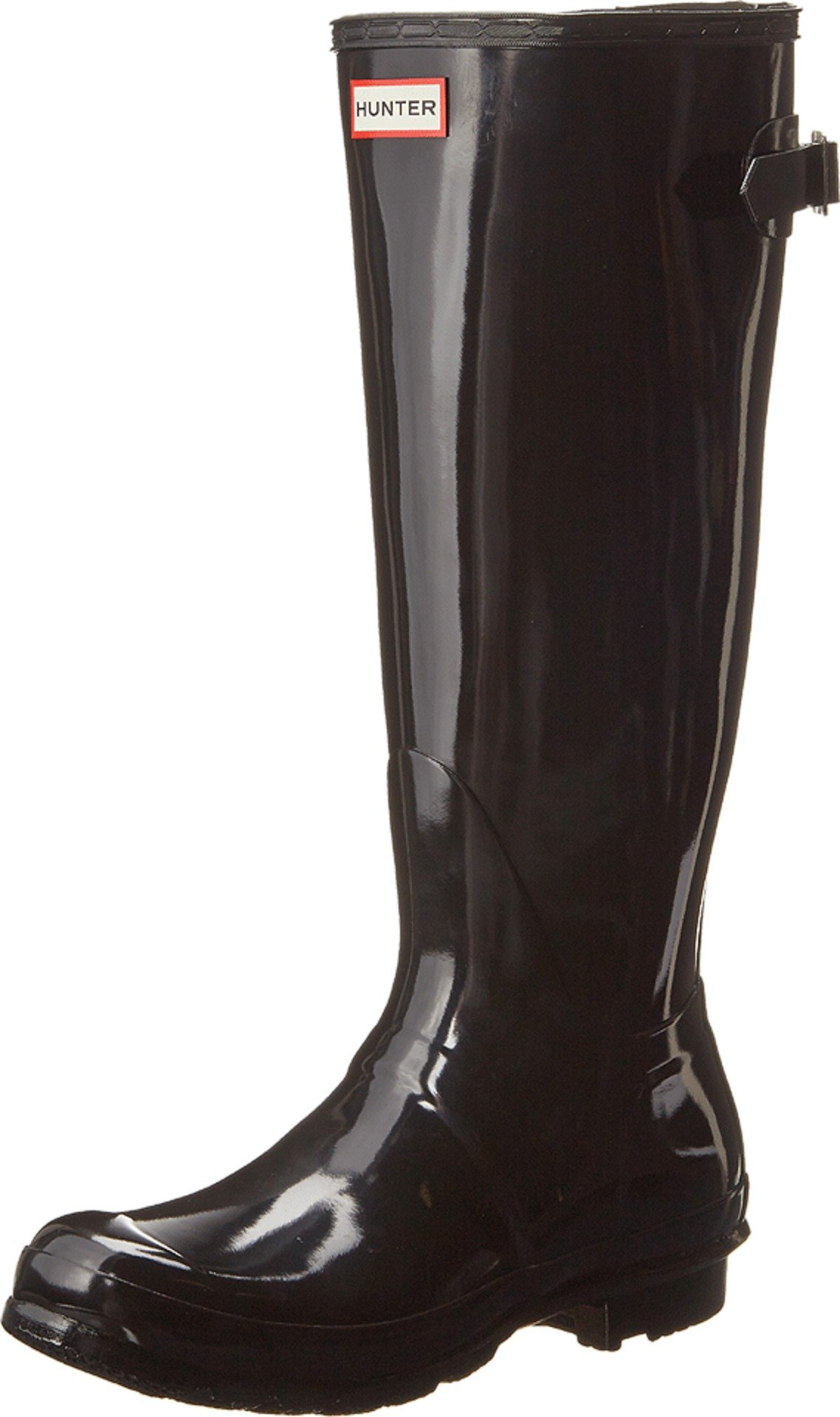 Hunter Boots Women's Original Back Adjustable Gloss Tall Rain Boot Black 11 M US