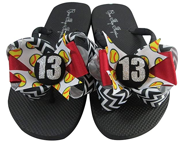 10c198cd07ea Amazon.com  Softball Bow Flip Flops with Glitter Player Customized Number  and Colors  Handmade